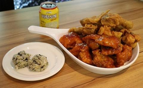 內用就先來這三樣  半半炸雞 韓式手作飯團 米釀